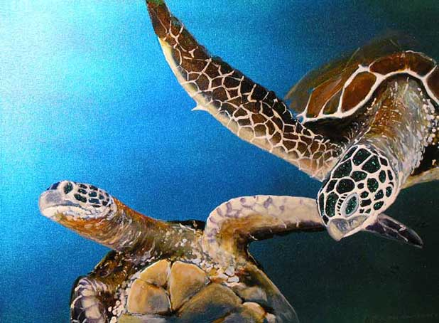 Painting by Bill Myrick: Honu Passion